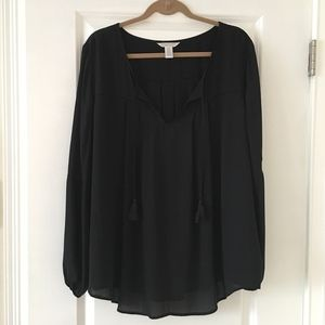 London Times Black Blouse Top Size 3X